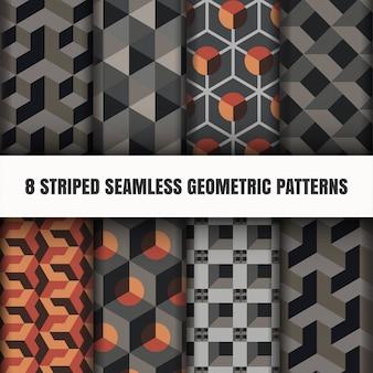Zestaw pasiasty bez szwu wzorów geometrycznych