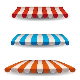 Zestaw pasiastych czerwonych, niebieskich, pomarańczowych białych markiz, zadaszeń do sklepu. markiza do kawiarni i restauracji ulicznych.