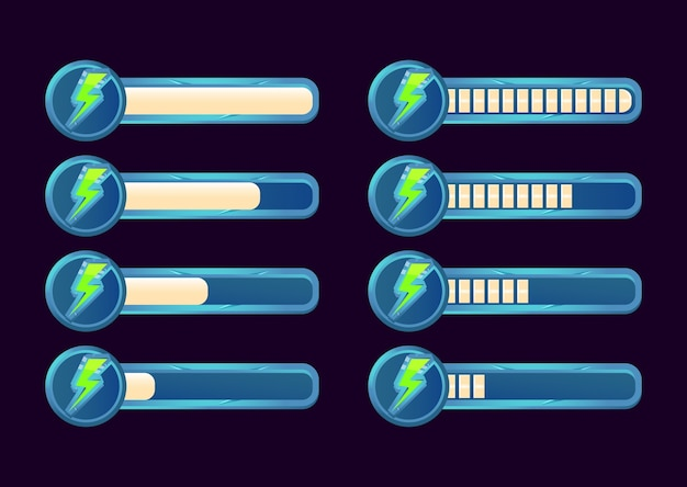 Zestaw paska postępu energii gui dla elementów zasobów interfejsu gry