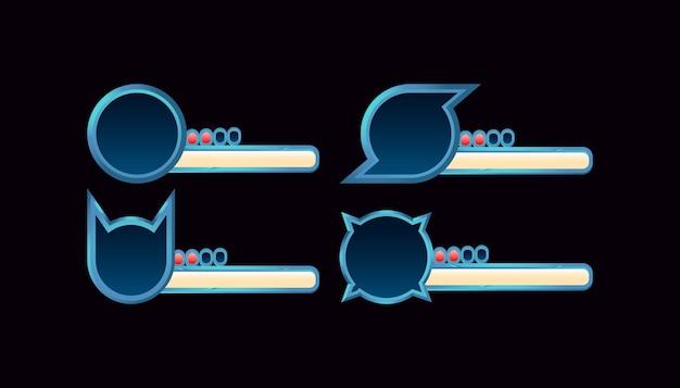 Zestaw paska postępu fantasy gui z różnymi ramkami dla elementów zasobów interfejsu gry
