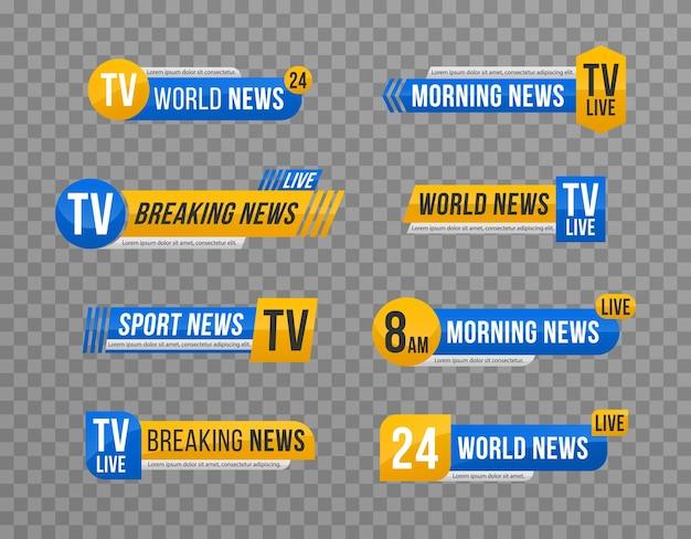 Zestaw paska wiadomości telewizyjnych baner wiadomości do strumieniowego przesyłania telewizji tekst banera z najświeższymi wiadomościami
