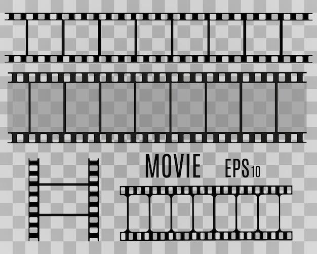 Zestaw pasków folii na białym tle na przezroczystym tle. rolka taśmy filmowej. tło wektor kino.