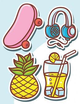 Zestaw pasków słodkie obiekty