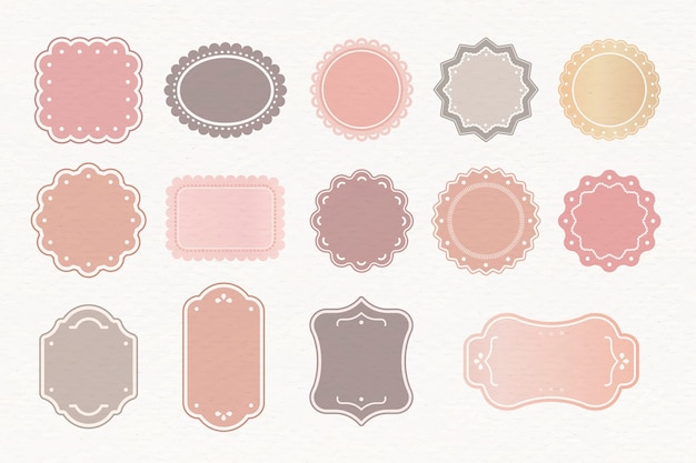 Zestaw pastelowych etykiet