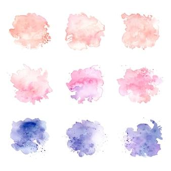 Zestaw pastelowych kolorów plam akwarelowych