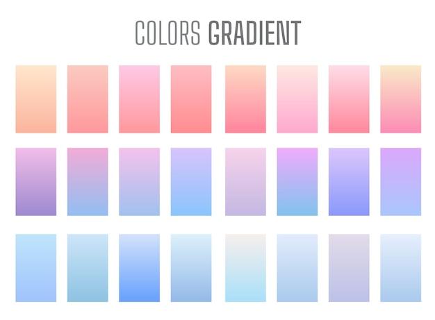 Zestaw pastelowych kolorowych gradientów tła. nowoczesne motywy wyświetlania. projekt szablonu dla aplikacji mobilnej.