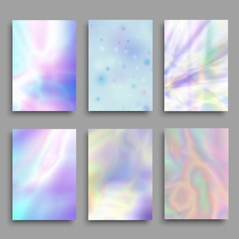 Zestaw pastelowych kolorowych tła z hologramem.