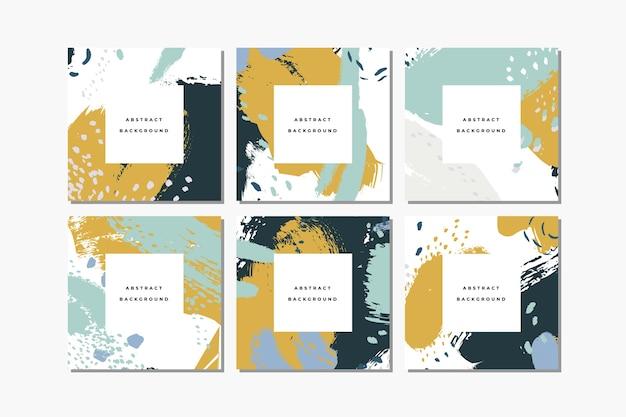 Zestaw pastelowych kwadratowych ręcznie rysowane abstrakcyjne tła z artystycznymi pociągnięciami pędzla i plamami farby. post w mediach społecznościowych