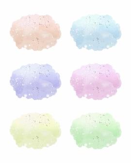 Zestaw pastelowych plam akwarelowych