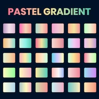 Zestaw pastelowych próbek gradientu, miękka kolekcja żywych gradientów