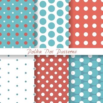 Zestaw pastelowych wzorów bez szwu polka dot