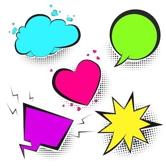Zestaw pęcherzyków mowy emocji jasny kolor retro