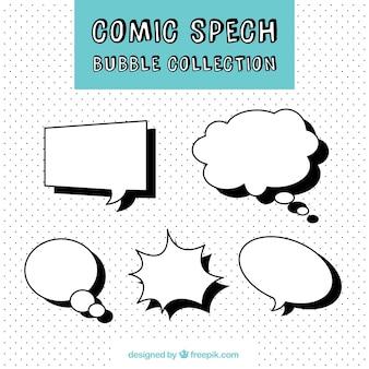 Zestaw pęcherzyków mowy w komiksowym stylu