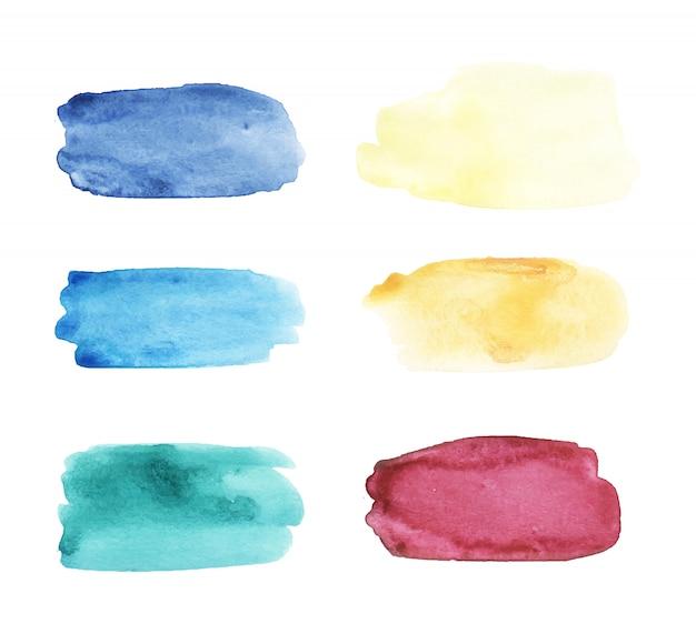 Zestaw pędzli akwarela. ręcznie rysowana kolekcja z kolorowymi plamami, plamami, rozmazami, kształtem poziomym.