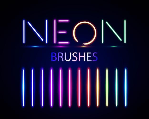 Zestaw pędzli neonowych. zestaw kolorowych obiektów światła na ciemnym tle.