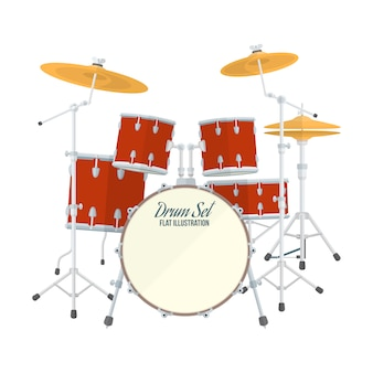 Zestaw perkusyjny na białym tle
