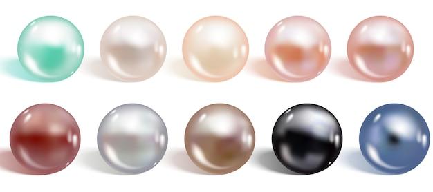 Zestaw perły realistyczne różne kolory.