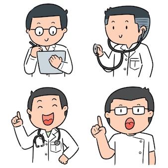 Zestaw personelu medycznego na białym tle