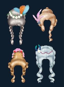 Zestaw peruk damskich w stylu rokoko