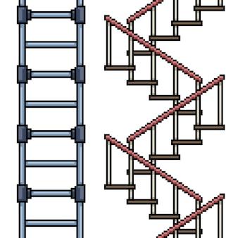 Zestaw pętli schodów na białym tle sztuki pikseli