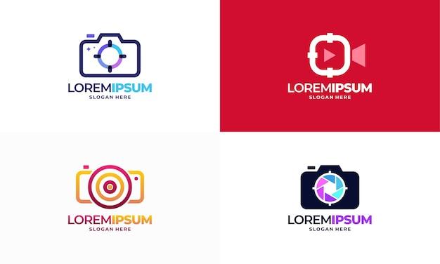 Zestaw photo shot logo projektuje wektor koncepcyjny, focus target icon logo design element