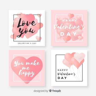 Zestaw piękne valentine karty