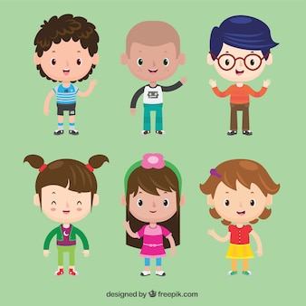 Zestaw pięknych dzieci znaków