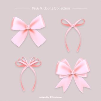 Zestaw pięknych różowych realistycznych kokardkami