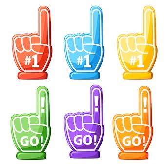 Zestaw pianek do rąk. kolorowy, piankowy palec. numer jeden i go. ilustracja na białym tle. projekt strony internetowej i aplikacji mobilnej