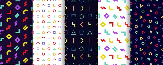 Zestaw pięciu bez szwu wzorów memphis. papier do pakowania . tekstury geometryczne. streszczenie okładki.