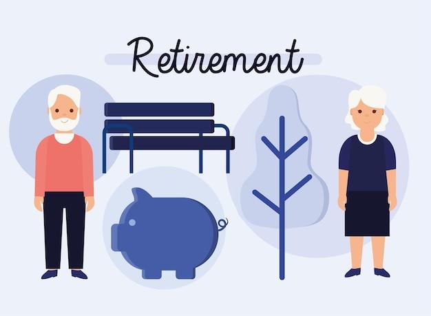 Zestaw pięciu elementów emerytalnych