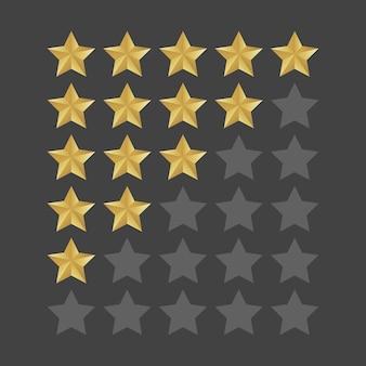 Zestaw pięciu gwiazdek w 3d. poziom statusu izolowanego wskaźnika jakości dla sieci lub aplikacji. ilustracji wektorowych