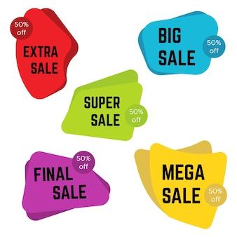 Zestaw pięciu kolorowych naklejek sprzedaż z tekstem. sprzedam szablon etykiety. ilustracja wektorowa