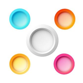 Zestaw pięciu kolorowych okrągłych przycisków w różnych kolorach i rozmiarach do witryn internetowych, internetu lub aplikacji