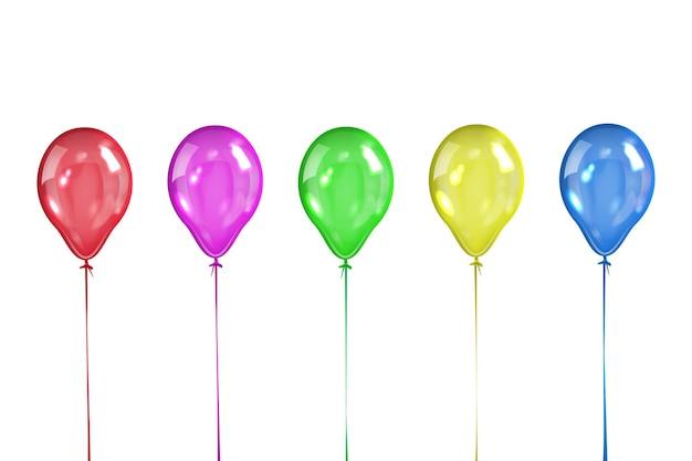 Zestaw pięciu kolorowych przezroczystych kulek na białym tle.
