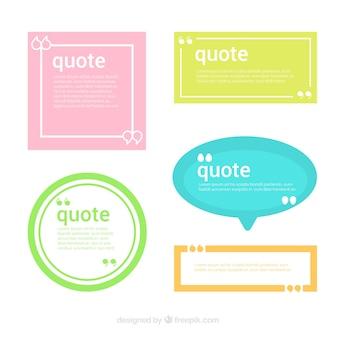 Zestaw pięciu kolorowych szablonów dla cytatów