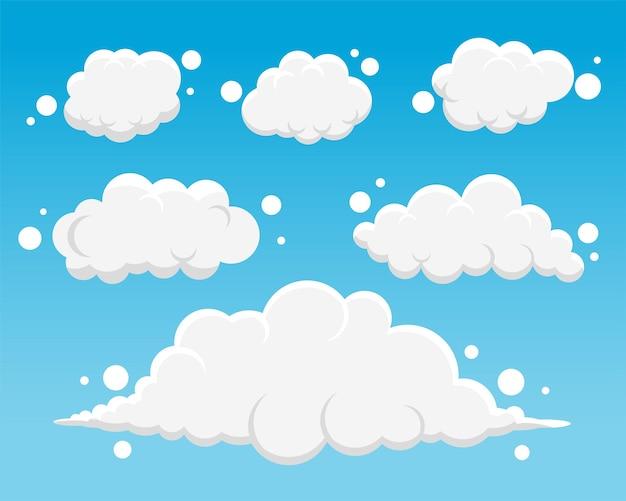 Zestaw pięciu puszystych chmur z kreskówek