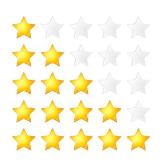 Zestaw pięciu złotych gwiazdek ocena, na białym tle