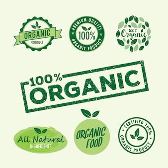 Zestaw pieczęci na ekologiczny i naturalny produkt