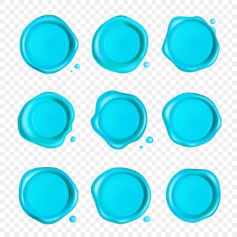 Zestaw pieczęci woskowej w kolorze cyjan.