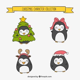 Zestaw piękne pingwiny boże narodzenie