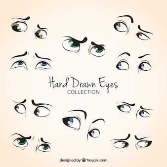 Zestaw piękne ręcznie rysowane oczu