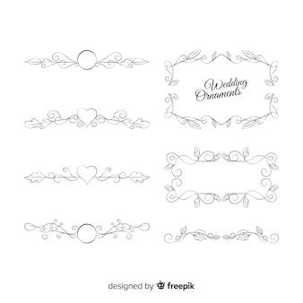 Zestaw piękne ręcznie rysowane ozdoby ślubne