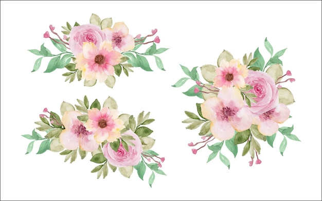 Zestaw pięknego bukietu kwiatów na białym tle