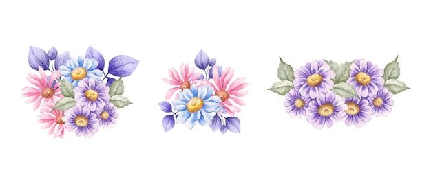 Zestaw pięknej, ręcznie rysowanej kolekcji bukietów wiosennych kwiatów akwareli