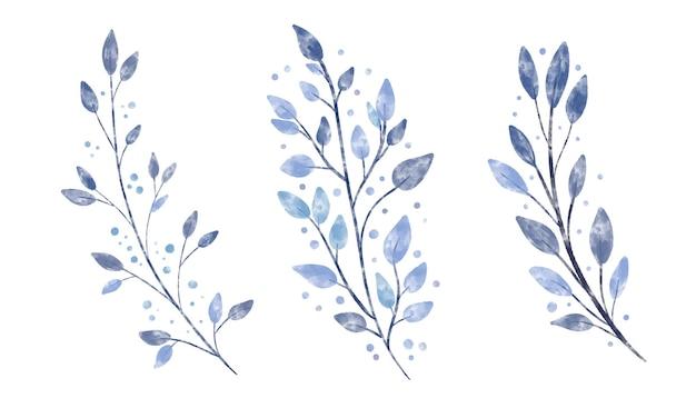 Zestaw pięknej rocznika akwareli teksturowanej zimowej gałęzi z niebieskimi liśćmi i kropkami płatków śniegu