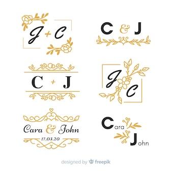 Zestaw piękny ślub ozdobnych monogram