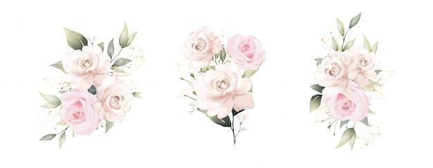 Zestaw pięknych akwareli z bukietami róż