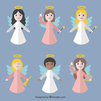 Zestaw pięknych aniołów w płaskiej konstrukcji