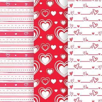 Zestaw pięknych bez szwu wzorów w kształcie różowego i czerwonego serca
